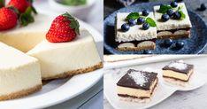 Osviežujúci tvaroh, kyslá smotana, husté salko, nadýchaná šľahačka či krémové mascarpone sú skvelými ingredienciami na vytvorenie dokonalého zák Creme Brulee, Cheesecake, Food, Cakes, Mascarpone, Cake Makers, Cheesecakes, Essen, Kuchen