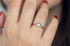 Wedding set: diamond engagement ring with turquoise crown and a black diamonds wedding ring. Unique wedding set for the non-traditional bride. The set is