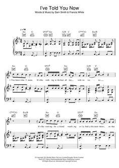 Sam Smith: I've Told You Now - Partition Piano Voix Guitare (Mélodie Main Droite) - Plus de 70.000 partitions à imprimer !