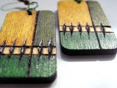 Kolczyki drewniane, rękodzieło