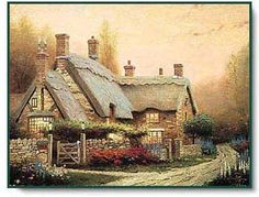 McKenna's Cottage by Thomas Kinkade is just one of the many fine limited edition Christian art prints for sale at Christ-Centered Art. Cottage Art, Painted Cottage, Cottage House, Storybook Cottage, Rose Cottage, Cottage Living, Living Room, Photo Compilation, Thomas Kinkade Art