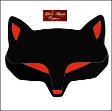FRENCH SIGNED LEA STEIN PARIS DECO SHAPE FOX HEAD PIN BROOCH --BLACK RED