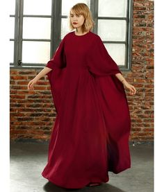 Red Batwing Sleeve Cape Back Maxi Dress