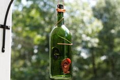 Glass Green and Copper Wine Bottle Bird Feeder - Bird House - Gift for Mom - Outdoor - Patio - Unique Bird Feeders, Homemade Bird Feeders, Wine Decor, House Gifts, Backyard Birds, Garden Gifts, Artsy Fartsy, Wind Chimes, Accent Decor