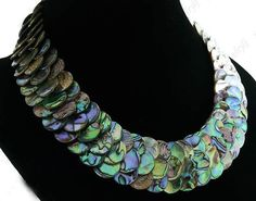 Gorgeous natural flaky abalone shell necklace by jewelrylj on Etsy, $35.00