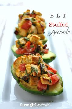 BLT Stuffed Avocado - Farmgirl Gourmet  Ingredients  2 large Hass Avocados 1 teaspoon lemon juice 1 ½ cups small cubed rustic bread 1 medium tomato, cored, diced 1/3 cup spinach leaves, thinly sliced ¼ cup cooked bacon, chopped 2 tablespoons mayonnaise 1 teaspoon salt ½ teaspoon black pepper