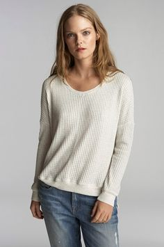 VELVET By Graham & Spencer Regine Thermal Knit Long Sleeve Top Light Grey S $108 #VelvetbyGrahamSpencer #Tee #Casual