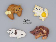 Kawaii fridge magnet set, Cat magnet, breakfast, home decor, funny pets, pet gift, kitchen decoration, pet magnet, food art, gift ideas von JuskanCreations auf Etsy