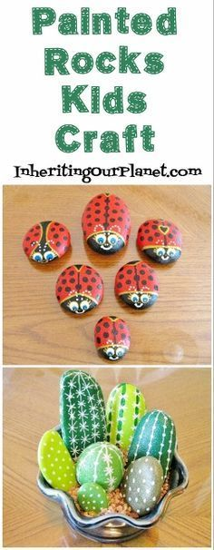 Painted Rock Craft for Kids, a fun craft for both the kids and adults perfect for teacher, Mother's day or Father's Day gifts.