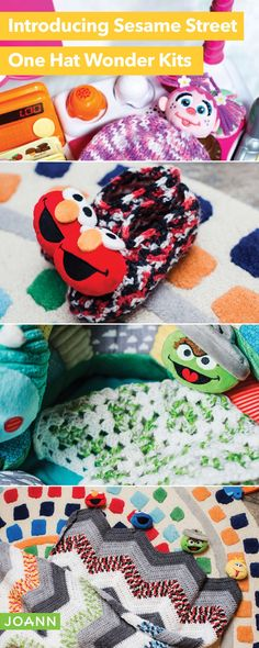 Come & see what's sweet on Sesame Street! Make an Abby Cadabby Hat, Elmo Slippers, Oscar Lovey & Sunny Day Ripple Afghan - they're totally terrific! Yarn Projects, Crochet Projects, Abby Cadabby, Ripple Afghan, Elmo, Sunny Days, Sunglasses Case, Slippers, Stitch