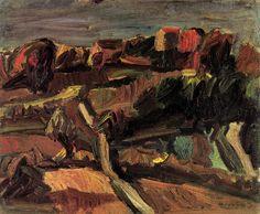 Ennio Morlotti - Paesaggio - 1941 - olio su tela - cm 50x60 - Milano Galleria Ruggerini & Zonca