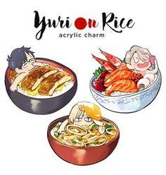 Yuri on Rice [SET] [ Yuri!! on ice Acrylic charm ] Vocaloid, Katsuki Yuri, Yuuri Katsuki, Chibi Food, Katsudon, ユーリ!!! On Ice, Yuri Plisetsky, Ice Skaters, Acrylic Charms