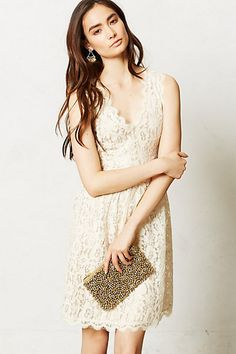 Just bought this dress, I love the pretty ivory lace. Melusine Dress #anthropologie