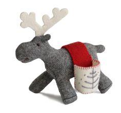 Deer. Felt - 100% wool, filler - polyester batting. Hand embroidery, hand gathering. 14х15х7cm. Color options: a: grey; b: liliac; c: creamy.