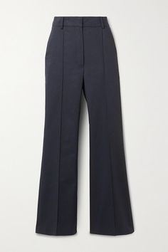Vanessa Bruno Echalas Herringbone Cotton High-rise Bootcut Pants In Navy Trouser Outfits, Blazer Outfits, Vanessa Bruno, Herringbone Pattern, Navy Pants, New Wardrobe, Midnight Blue, Wide Leg Pants, World Of Fashion