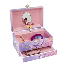 Jewelry Music Boxes - JewelKeeper Butterfly Flower Music Jewelry Box with Pullout Drawer Jewel Storage Case Purple and Pink Design Waltz of the Flowers Tune * You can find more details by visiting the image link.