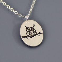 Tiny Sterling Silver Owl Necklace by Lisa Hopkins Design.