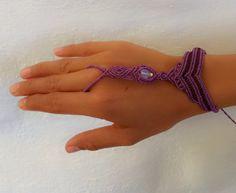 Tribal Macrame  Ring Bracelet Slave with by VevaArtisanJewelry