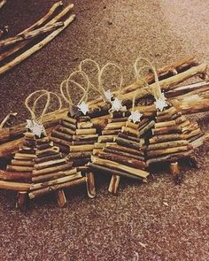 Handmade rustic wooden mini Christmas tree, tree decorations, silver star on the top, twine loop to hang. Hand picked branches with Homemade Christmas Decorations, Christmas Crafts For Kids To Make, Diy Christmas Ornaments, Christmas Projects, Kids Christmas, Diy Tree Decorations, Handmade Christmas Tree, Rustic Christmas Crafts, Stick Christmas Tree