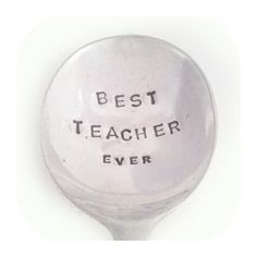 Gift For Teacher - BEST TEACHER EVER - Hand stamped Spoon £9.00