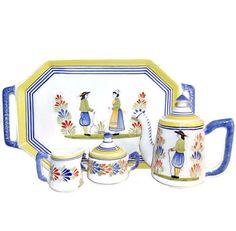 Henriot Quimper Tea Set ONLY Vintage French Folk Art by Curiopolis, $225.00