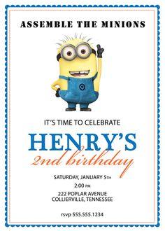 Despicable Me Minion Birthday Invitation - Custom DIY Printable. $12.00, via Etsy. @Cheryl Shreve!!