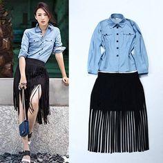 Luxo runway marca designer de outono mulheres camisas de manga longa conjuntos de saias outfits