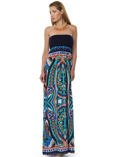 #printed_dress Maxi Dresses, Strapless Dress, Printed, Fashion, Strapless Gown, Moda, Fashion Styles, Curve Maxi Dresses