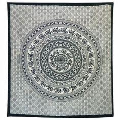 Lebensfreude Laden Tagesdecke Baumwolle - Elefanten Mandala schwarz / weiß | kaufen bei Lebensfreude Laden