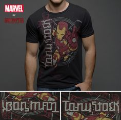 6990b9a2b8cb Iron Man / Tony Stark - Black Short Sleeve Men's Crew Neck T-Shirt (Age of  Ultron)