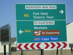 Road Sign for Fish Hoek, Simon's Town and Cape Town Training Academy, West Lake, Cape Town, South Africa, Sign, Signs, Board