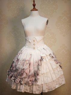 Classic Lolita Kleid High-Waist Rüschen klassische Lolita Rock mit Blumenmuster bedruckt - Lolitashow.com