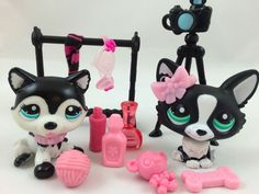 Littlest Pet Shop Corgi #2245/Husky #2246 Blythe Photoshoot w/Lots Accessories #Hasbro