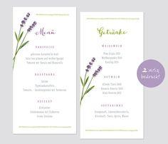 Hochzeitsdeko - 50x Menükarte Hochzeit - Lavendel 2-seitig - ein Designerstück von lina-art bei DaWanda