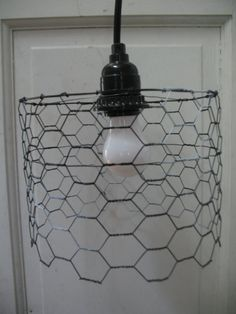 Positive/Negative Short Chicken Wire Lamp by CrudeOil on Etsy, $30.00