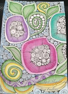 Zentangle flowing flowers!!!