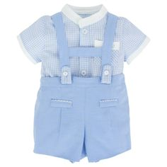 Mayoral Baby Blue Linen Dungarees Set