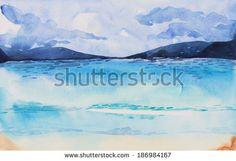 Beach , watercolor - stock photo