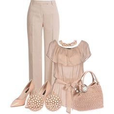 A fashion look from February 2015 featuring silk blouses, wide-leg pants and high heel pumps. Browse and shop related looks.