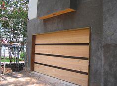 Contemporary Cypress Garage Door with Architectural Metal Inlays