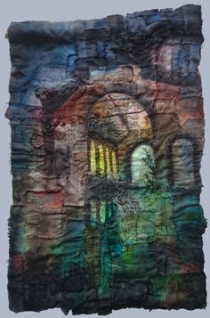 Gothic Decay creates unique pieces of textile art based on urban decay Art Base, Textile Artists, Urban Decay, Gothic, Textiles, Embroidery, Pictures, Collage, Painting
