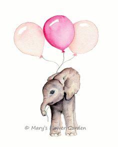 Arte para niños elefante niña de la guardería por Marysflowergarden