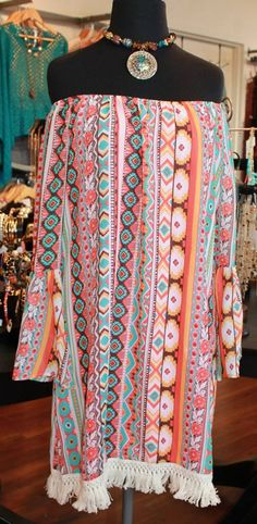 Proven fit, fringe dress is perfect for summer and fall. S-XL, $48.00