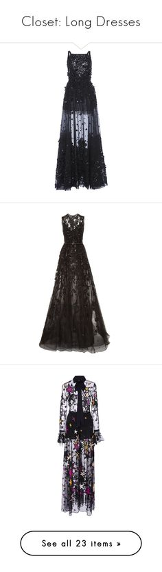 """Closet: Long Dresses"" by carolsposito ❤ liked on Polyvore featuring dresses, gowns, long dresses, elie saab, metallic gown, a line dress, embellished gown, long tulle dress, vestidos and black"