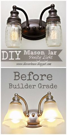 Mason Jar Lights - DIY Mason Jar Vanity Light - DIY Ideas with Mason Jars for Outdoor, Kitchen, Bathroom, Bedroom and Home, Wedding. How to Make Hanging Lanterns, Rustic Chandeliers and Pendants, Solar Lights for Outside http://diyjoy.com/diy-mason-jar-lights-lanterns