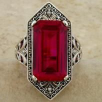 Antique Victorian 9 Carat Ruby & Seed Pearl .925 Sterling Silver Ring.Ring Size sizes 5-10 available