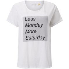 Collection WEEKEND by John Lewis Less Monday T-Shirt, White ($10) ❤ liked on Polyvore featuring tops, t-shirts, short t shirt, short sleeve tee, cotton tee, rolled up sleeves t shirt and white cotton t shirts