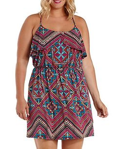 Plus Size Printed Tulip Flounce Dress: Charlotte Russe