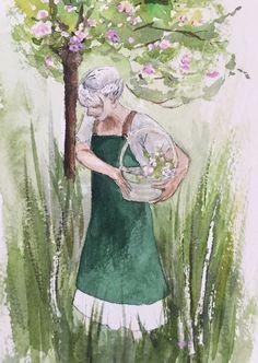 Girl in garden, watercolors