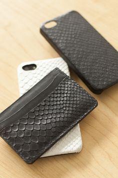 Embossed Boa Black Leather Card Holder #ValenzHandmade